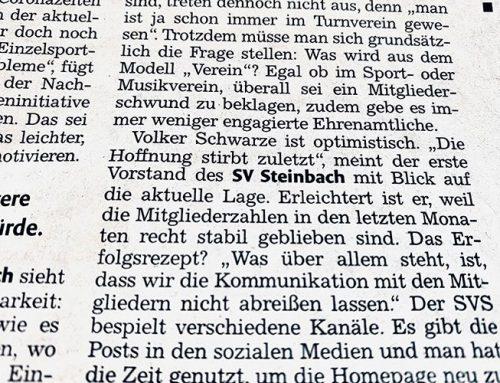 Der SVS in der Backnanger Kreiszeitung