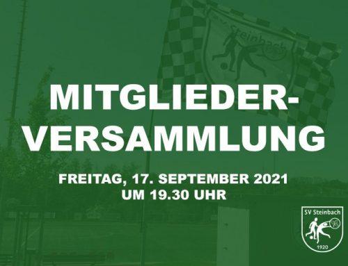 Mitgliederversammlung am 17. September 2021 um 19.30 Uhr in der Dorfhalle Steinbach